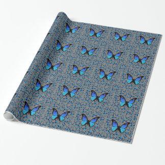blauwe vlinders inpakpapier