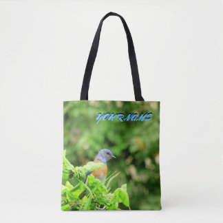 Blauwe Vogel en uw naam Draagtas