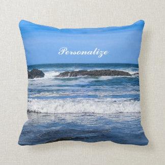 Blauwe Vreedzame Oceaan met Naam Sierkussen