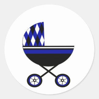 Blauwe Wandelwagen Ronde Sticker
