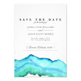 Blauwe Waterverf | Elegant sparen de Datum Kaart