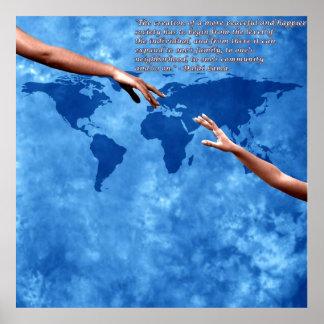 Blauwe wereldkaart met tekst door Dalai lama Poster