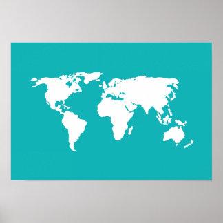 blauwe wereldkaart poster