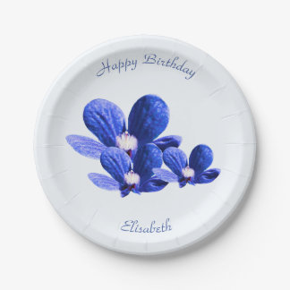 Blauwe Wilde Bloemen Papieren Bordje
