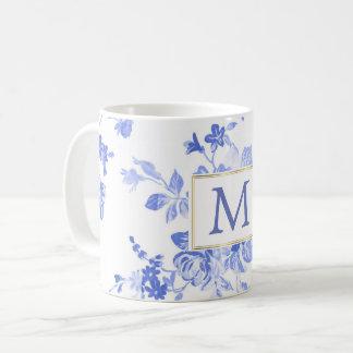 blauwe witte aanvankelijke klantgericht van koffiemok