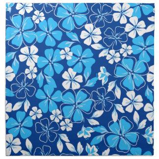 Blauwe & witte bloemen servet