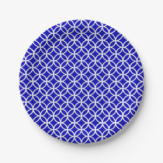 Blauwe Witte Cirkel van het Leven Papieren Bordje