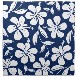 Blauwe & witte hibiscus servet