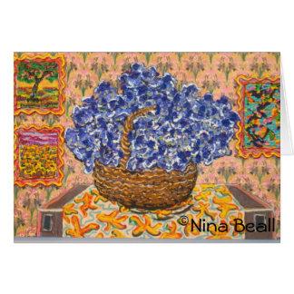 """""""Blauwe Wysteria met Ui,"""" door Nina Beall Wenskaart"""