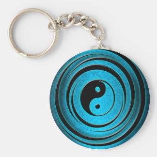 Blauwe Ying Yang Sleutelhanger