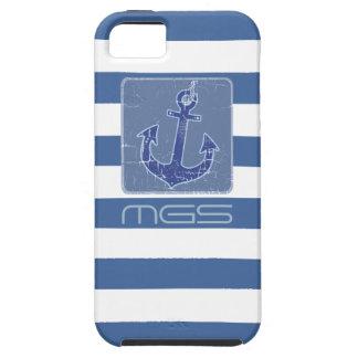 blauwe zeevaart de douaneinitialen van het tough iPhone 5 hoesje