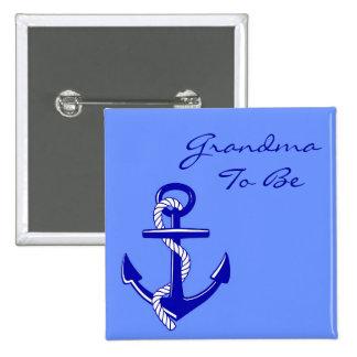 Blauwe ZeevaartOma om de Speld van het Anker te Vierkante Button 5,1 Cm