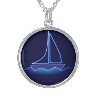 Blauwe Zeilboot Sterling Zilver Ketting