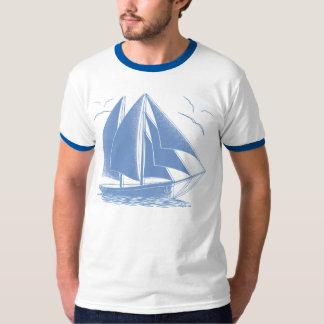 Blauwe zeilboot zeevaartzeeman t shirt