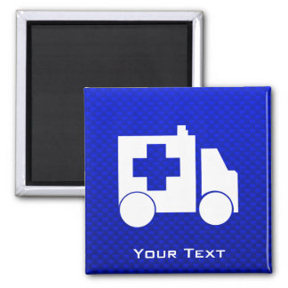 Blauwe Ziekenwagen Vierkante Magneet