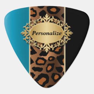 Blauwe Zircon en Zwart Jaguar | personaliseren Plectrum