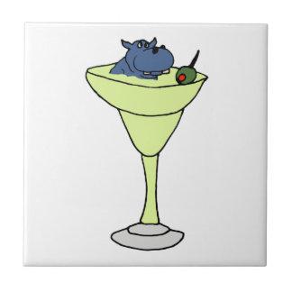 Blauwe Zitting Hippo in de Drank van Martini Keramisch Tegeltje