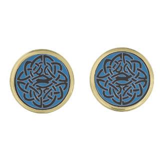 Blauwe Zwarte en Gouden Keltische Cufflinks van de Vergulde Manchetknopen