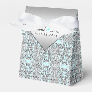 Blauwgroen Blauw en Zilveren bruiloft Bedankdoosjes