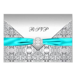 Blauwgroen Blauwe Diamanten bruiloft RSVP Kaart