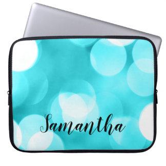 Blauwgroen Blauwe Grote Gepersonaliseerde Lichten Laptop Sleeve
