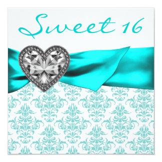 Blauwgroen Blauwe Zoete Partij 16 van het 13,3x13,3 Vierkante Uitnodiging Kaart
