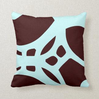 blauwgroen en bruin abstract patroonhoofdkussen sierkussen