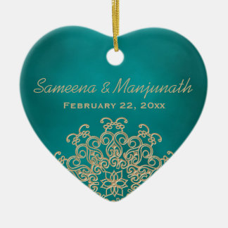 Blauwgroen en gouden Indiase stijl huwelijkskado Keramisch Hart Ornament