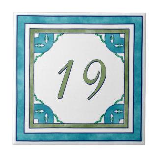 Blauwgroen en Groen Groot Huisnummer Keramisch Tegeltje