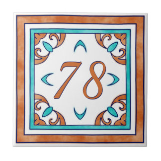 Blauwgroen en Oranje Groot Huisnummer Keramisch Tegeltje