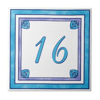 Blauwgroen en Paars Groot Huisnummer Tegeltje