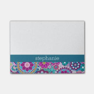 Blauwgroen en Roze BloemenPatroon met de Naam van Post-it® Notes