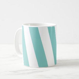 Blauwgroen en Witte Strepen Koffiemok