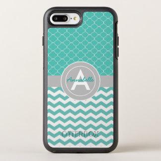Blauwgroen Grijze Chevron Quatrefoil OtterBox Symmetry iPhone 8 Plus / 7 Plus Hoesje