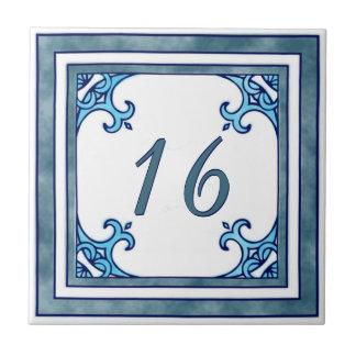 Blauwgroen Groot Huisnummer Keramisch Tegeltje