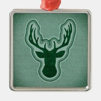 Blauwgroen het Gloeien van het Canvas Herten Zilverkleurig Vierkant Ornament