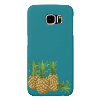 Blauwgroen Retro Vintage Ananas Samsung Galaxy S6 Hoesje