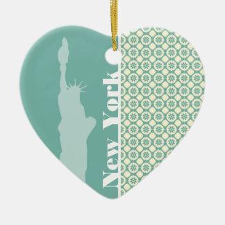 Blauwgroen & Room Bloemen; New York Keramisch Hart Ornament