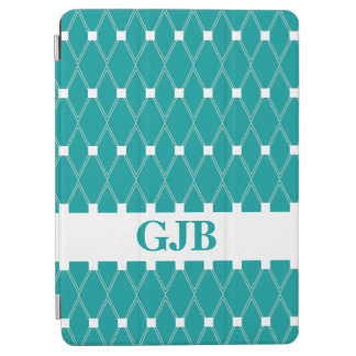 Blauwgroen Rooster Argyle met monogram iPad Air Cover