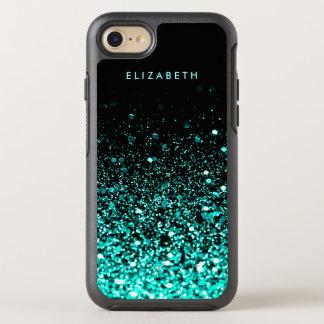 Blauwgroen schittert Blauwgroen van Aqua Zwarte OtterBox Symmetry iPhone 8/7 Hoesje