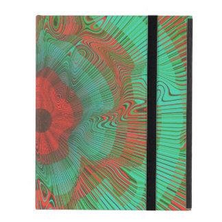 Blauwgroen Spiraalvormige Psychedelisch iPad Hoesje
