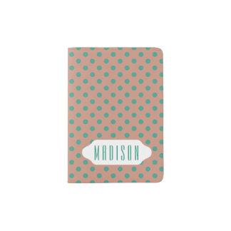 Blauwgroen & stoffige roze het paspoorthouder van paspoort houder