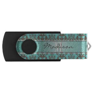 Blauwgroen Turkoois blauw & Bruin Gepersonaliseerd USB Stick