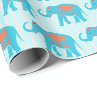 Blauwgroen turkooise, blauwe Olifanten, op blauwe Inpakpapier