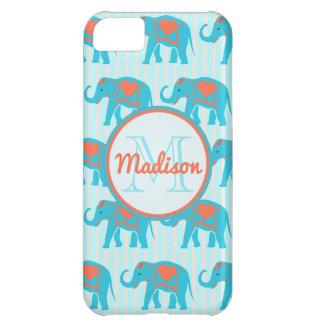 Blauwgroen turkooise, blauwe Olifanten op blauwe iPhone 5C Hoesje