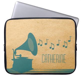 Blauwgroen Vintage Laptop van de Grammofoon Sleeve