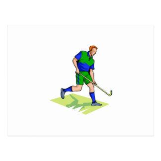 Blauwgroene het man van het hockey briefkaart
