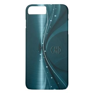 Blauwgroene Metaal Retro Dynamische Golf iPhone 7 Plus Hoesje