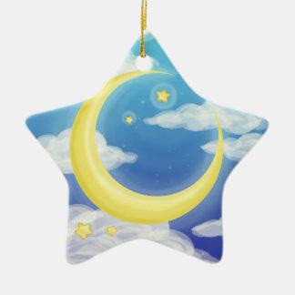 Bleke Maan op Blauw Keramisch Ster Ornament