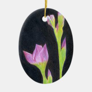 Bleke Paarse Iris Keramisch Ovaal Ornament